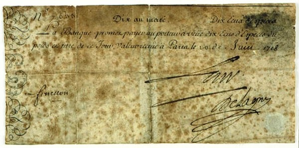 billet 10 Ecus d'espèce 1718