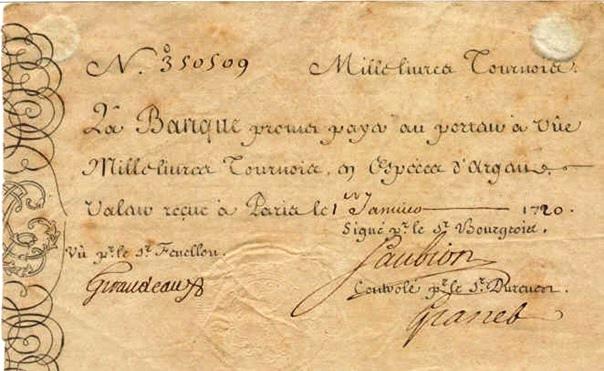 billet 1000 livres tournois 1715